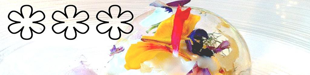 Estrellas michelin con flores comestibles