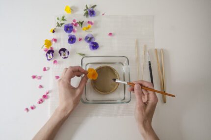 edible flowers recipe with pansies and sugar